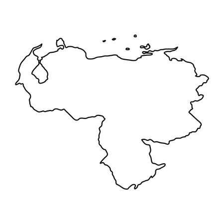 Venezuela map of black contour curves on white background of vector illustration