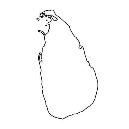ベクトル図の白い背景に黒の輪郭曲線のスリランカの地図
