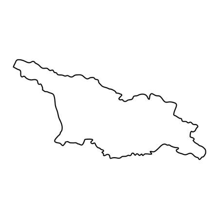 Georgia map of black contour curves on white background of vector illustration Illustration