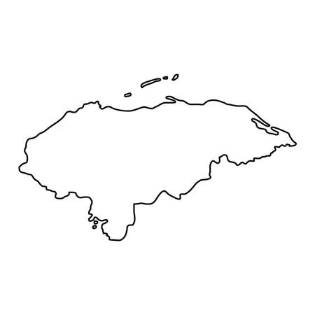 Honduras map of black contour curves on white background of vector illustration