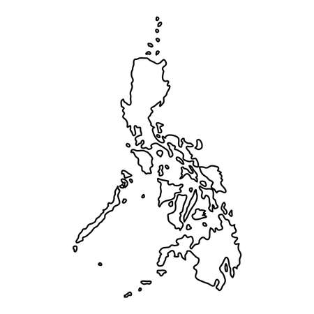 Philippines map of black contour curves on white background of vector illustration Vectores