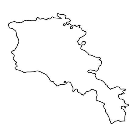 Armenia map of black contour curves on white background of vector illustration Illustration