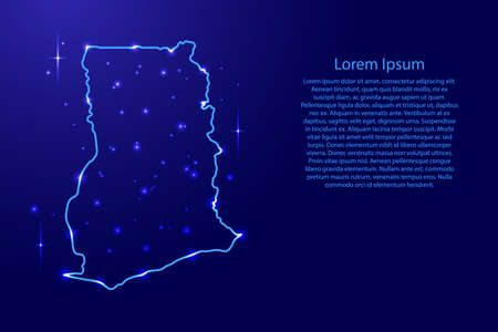 Map Ghana from the contours network blue, luminous space stars for banner, poster, greeting card, of vector illustration