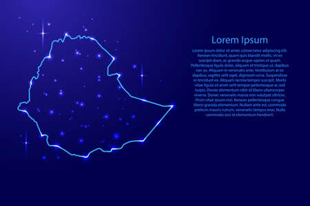 Map Ethiopia from the contours network blue, luminous space stars for banner, poster, greeting card, of vector illustration