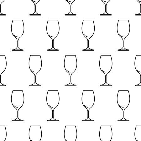Seamless pattern from wine glass black contour on white background of vector illustration Vectores