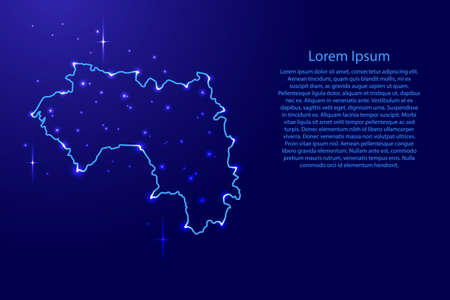 Map Guinea from the contours network blue, luminous space stars for banner, poster, greeting card, of vector illustration.