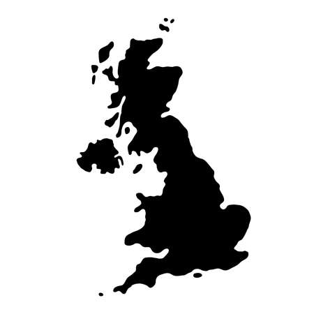 black silhouette country borders map of Great Britain on white background of vector illustration Illustration
