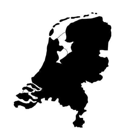 zwarte silhouet landgrenzen kaart van Nederland op witte achtergrond van vectorillustratie