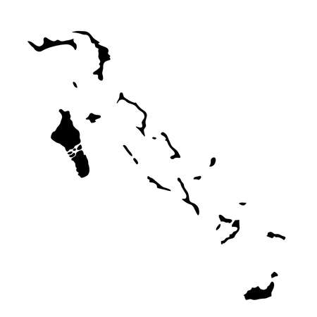 Black silhouette country borders map of Bahamas on white illustration. Illustration
