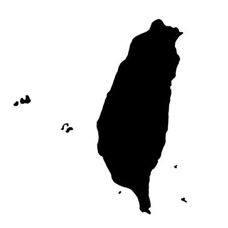 Black silhouette country borders map of Taiwan on white illustration.