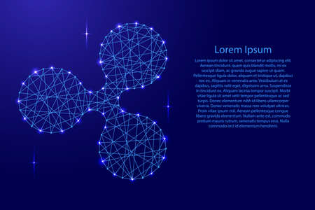 Ripple cryptocurrency from polygonal mosaic lines network, rays and space stars for banner, poster, greeting card, of vector illustration. Иллюстрация