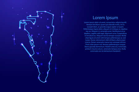 Map Gibraltar from the contours network blue, luminous space stars for banner, poster, greeting card, of vector illustration Illustration