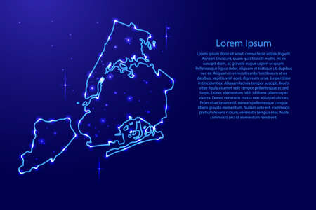 Map New York city from the contours network blue, luminous space stars for banner, poster, greeting card, of vector illustration