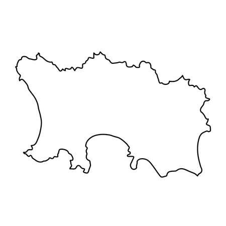 Jersey map of black contour curves on white background of vector illustration.