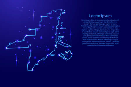 Map Miami city from the contours network blue, luminous space stars for banner, poster, greeting card, of vector illustration Иллюстрация