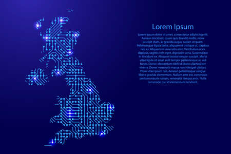Map Great Britain from printed board, chip and radio component with blue star space on the contour for banner, poster, greeting card, of vector illustration.