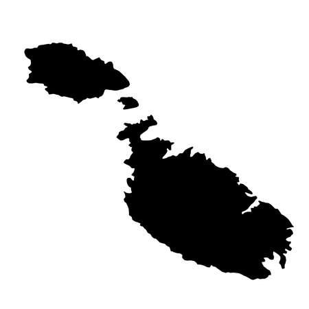 Mapa de fronteras de país silueta negra de Malta sobre fondo blanco de ilustración vectorial