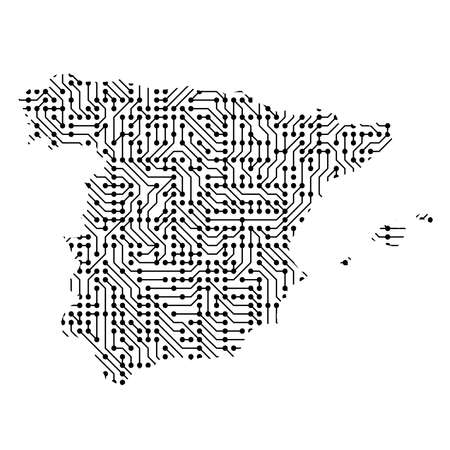 Abstract schematic map of Spain from the black printed board, chip and radio component of vector illustration
