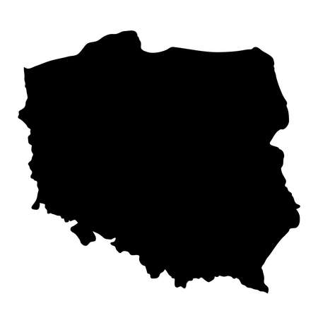 black silhouette country borders map of Poland on white background of vector illustration