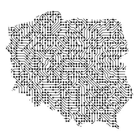 Abstract schematic map of Poland from the black printed board, chip and radio component of vector illustration