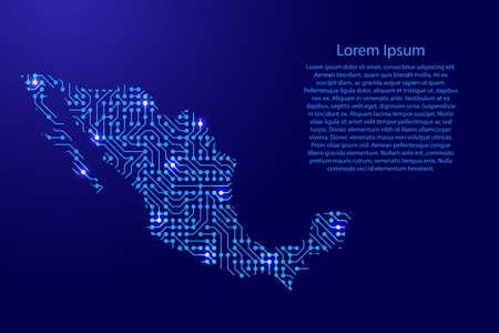 Mapa de México desde el tablero impreso, el chip y el componente de radio con espacio de estrella azul en el contorno para pancarta, póster, tarjeta de felicitación, de ilustración vectorial.