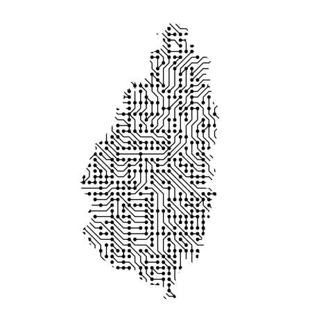 Abstract schematic map of Saint Lucia from the black printed board, chip and radio component of vector illustration Illustration