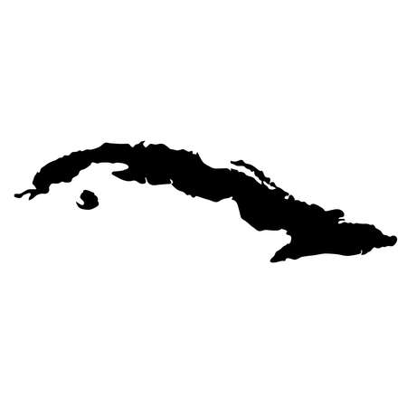 Black silhouette country borders map of Cuba