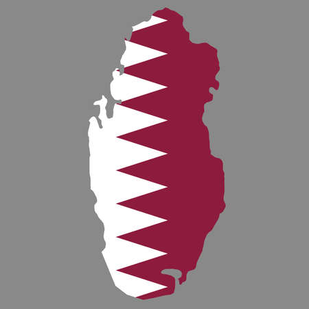 silhouette country borders map of Qatar on national flag background of vector illustration