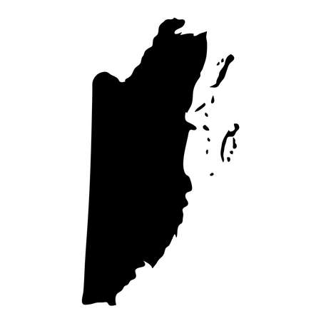 black silhouette country borders map of Belize on white background of vector illustration