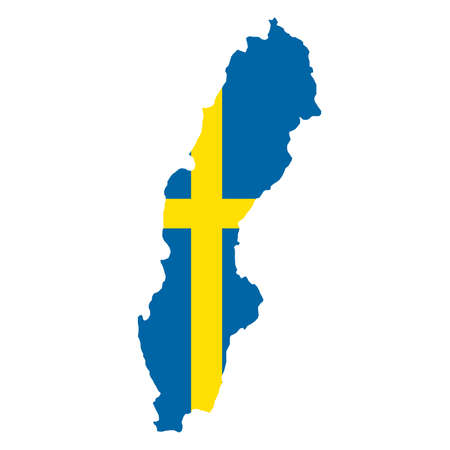 silhouette country borders map of Sweden on national flag background of vector illustration