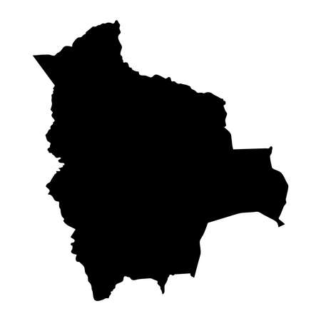 black silhouette country borders map of Bolivia on white background of vector illustration