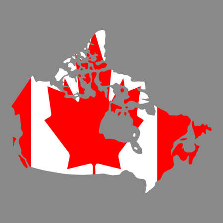 silhouette country borders map of Canada on national flag background of vector illustration