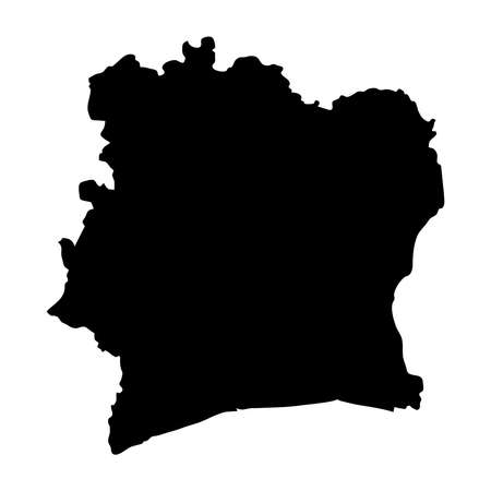 black silhouette country borders map of Ivory Coast on white background. Contour of state. Vector illustration