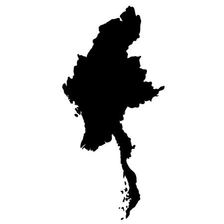 black silhouette country borders map of Myanmar on white background. Contour of state. Vector illustration