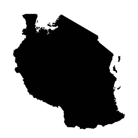black silhouette country borders map of Tanzania on white background. Contour of state. Vector illustration
