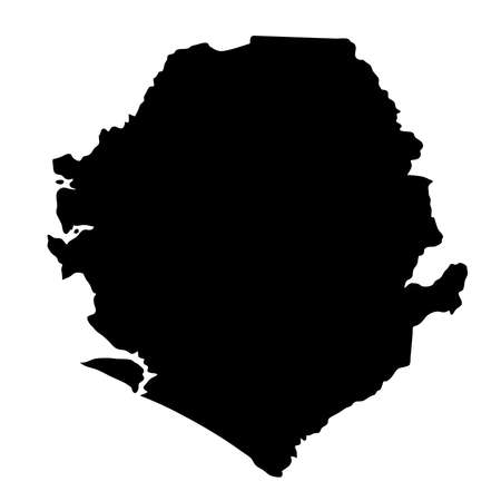 black silhouette country borders map of Sierra Leone on white background. Contour of state. Vector illustration