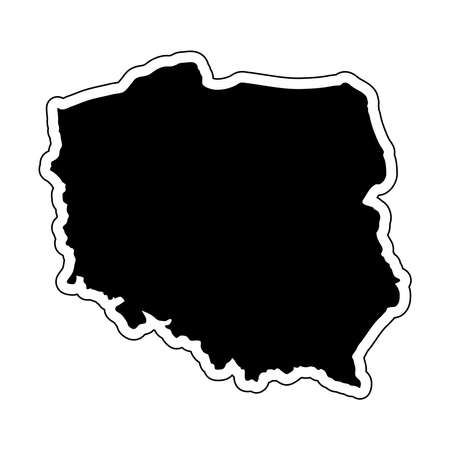 Black silhouette of the country Poland with the contour line. Effect of stickers, tag and label. Vector illustration