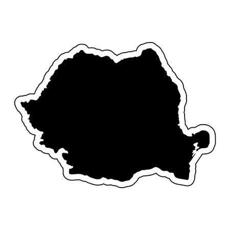 Black silhouette of the country Romania with the contour line or frame. Effect of stickers, tag and label. Vector illustration