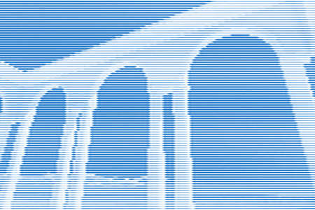 Image collage of rotunda gazebo on the seafront from horizontal lines and paths of variable color blue thickness. Vector illustration. Vettoriali