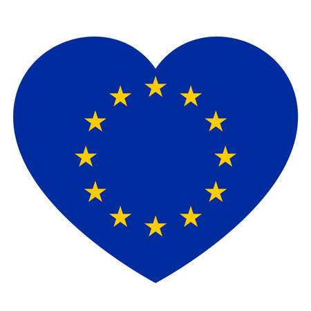 Icon heart symbol of love on the background national flag state European Union. Vector illustration. Standard-Bild - 103008313