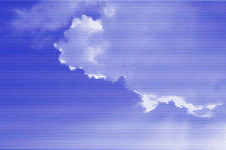 Image collage of blue sky with clouds and rays of sunshine from horizontal lines and paths of variable color thickness. Vector illustration. Ilustração