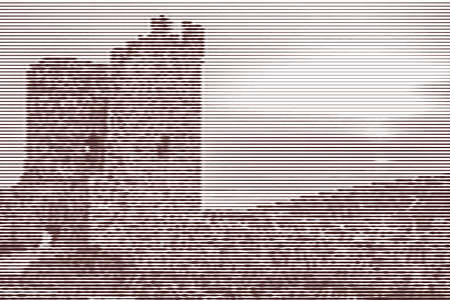 Image collage of the ruins of the ancient fortress at sunset from horizontal lines and paths of variable thickness color brown on white background. Vector illustration.