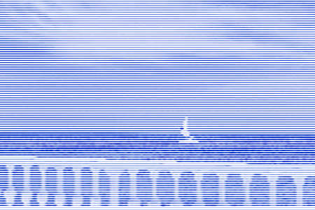Collage de imágenes de mar y valla con balaustres blancos de líneas horizontales y caminos de grosor variable color azul sobre fondo blanco. Ilustración vectorial.
