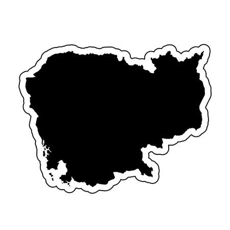 Black silhouette of the country Cambodia with the contour line or frame. Effect of stickers, tag and label. Vector illustration.
