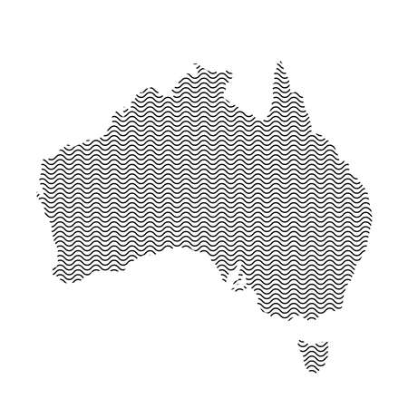 Abstract Australia country silhouette of wavy black repeating lines. Contour of sinusoid curve. Vector illustration.