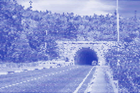 Image collage of entrance to the tunnel in the mountain highway from horizontal lines and paths of variable thickness color blue on white background. Vector illustration.