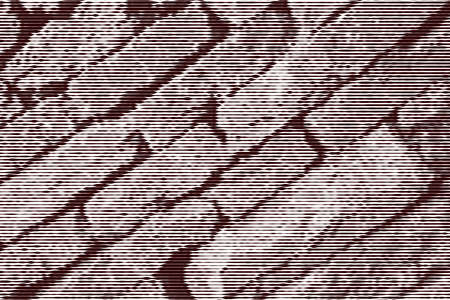 Image collage of wall of natural stone on the diagonal from horizontal lines and paths of variable thickness color brown on white background. Vector illustration.