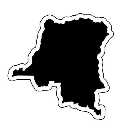 Black silhouette of the country Democratic Republic Of The Congo with the contour line or frame. Effect of stickers, tag and label. Vector illustration.  イラスト・ベクター素材
