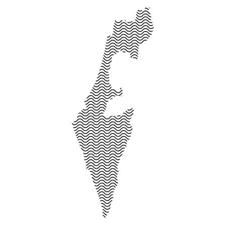 Abstract Israel country silhouette of wavy black repeating lines. Contour of sinusoid curve. Vector illustration.