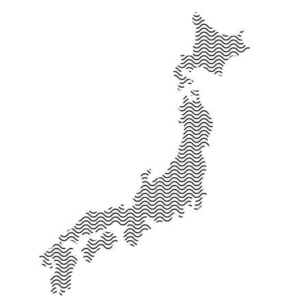 Abstract Japan country silhouette of wavy black repeating lines. Contour of sinusoid curve. Vector illustration.  イラスト・ベクター素材